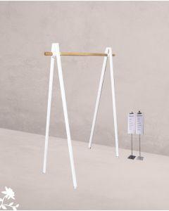 Tøjstativ v-formet m/ bøjlestang i træ - hvid
