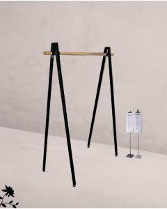 Tøjstativ v-formet m/ bøjlestang i træ - sort
