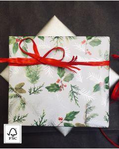 Julepapir m/ gran & krisstjørn - B 50 cm