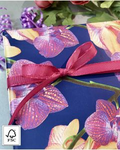 Gavepapir orkide/blå - B 50 cm. FSC-mix.