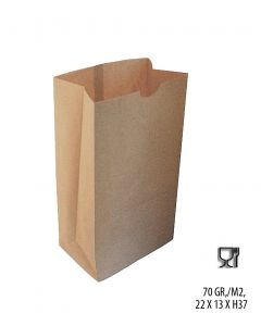 Papirpose m/ klodsbund, natur. H37 cm