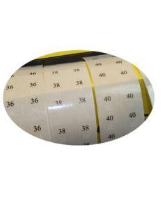 Størrelsesmærkat m/ tal - 2. sortering