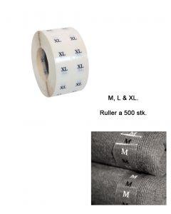 Størrelsesmærkat m/ Bogstaver - 500 stk. pr.rl.