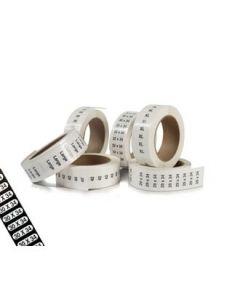 Størrelsesmærkater m/ tal - 240 stk. pr. rl.