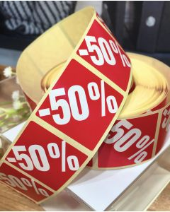 Røde etiketter m/ procent - 500 stk. -50%