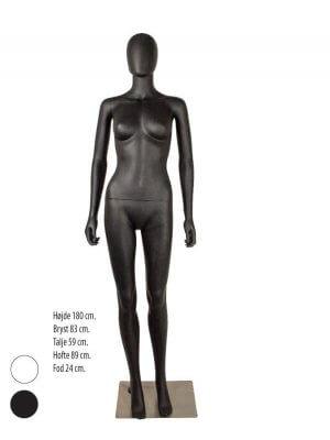 Hvid eller sort damemannequin uden ansigtstræk med lige arme