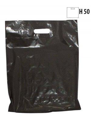 Sort plastpose med guldprik (B 40 x D 10 x H 50 cm.)