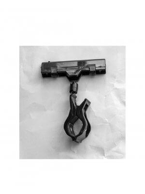 Clear Grip, skilteholder, med bred klemme, sort akryl, H10 cm