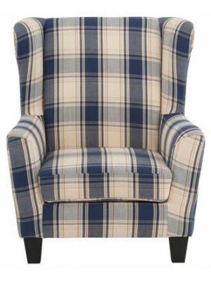 Karina lænestol med blå og hvid tern