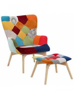 Laila lænestol med skammel i patchwork stil