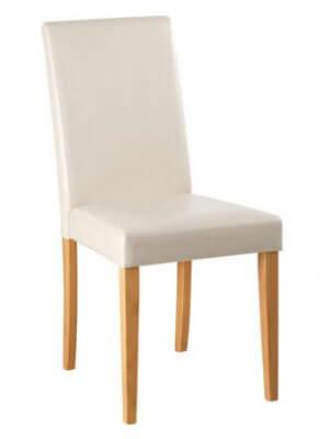 Susanne spisebordstol med creme betræk og lyse fyretræs ben