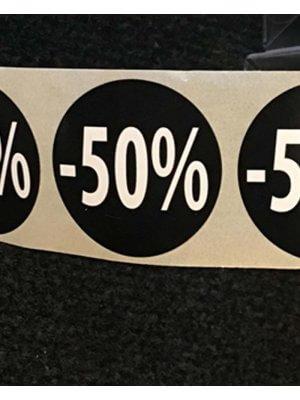 Sorte etiketter m/ procent - 500 stk. -50%