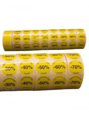 Gule etiketter m/ procent - 1.000 stk.