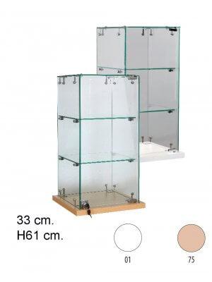 Slimline glas bordvitrine - Hvid