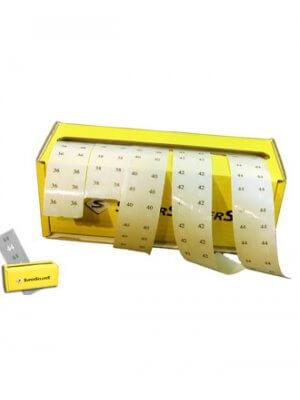 Størrelsesmærkater i display, 36-44