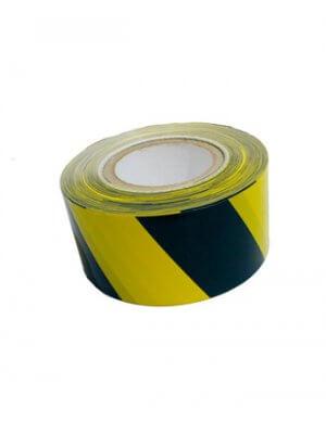 Afspærringsbånd - sort / gul stribet