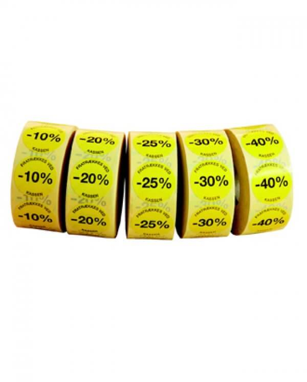 Gule etiketter med procent påtrykt