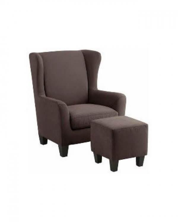 Brun Janni lænestol med skammel