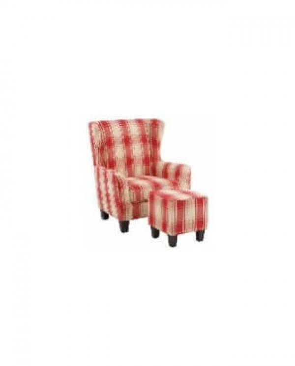 Karina lænestol og skammel med rød og hvid tern