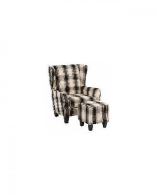 Karina lænestol og skammel med sort og hvid tern